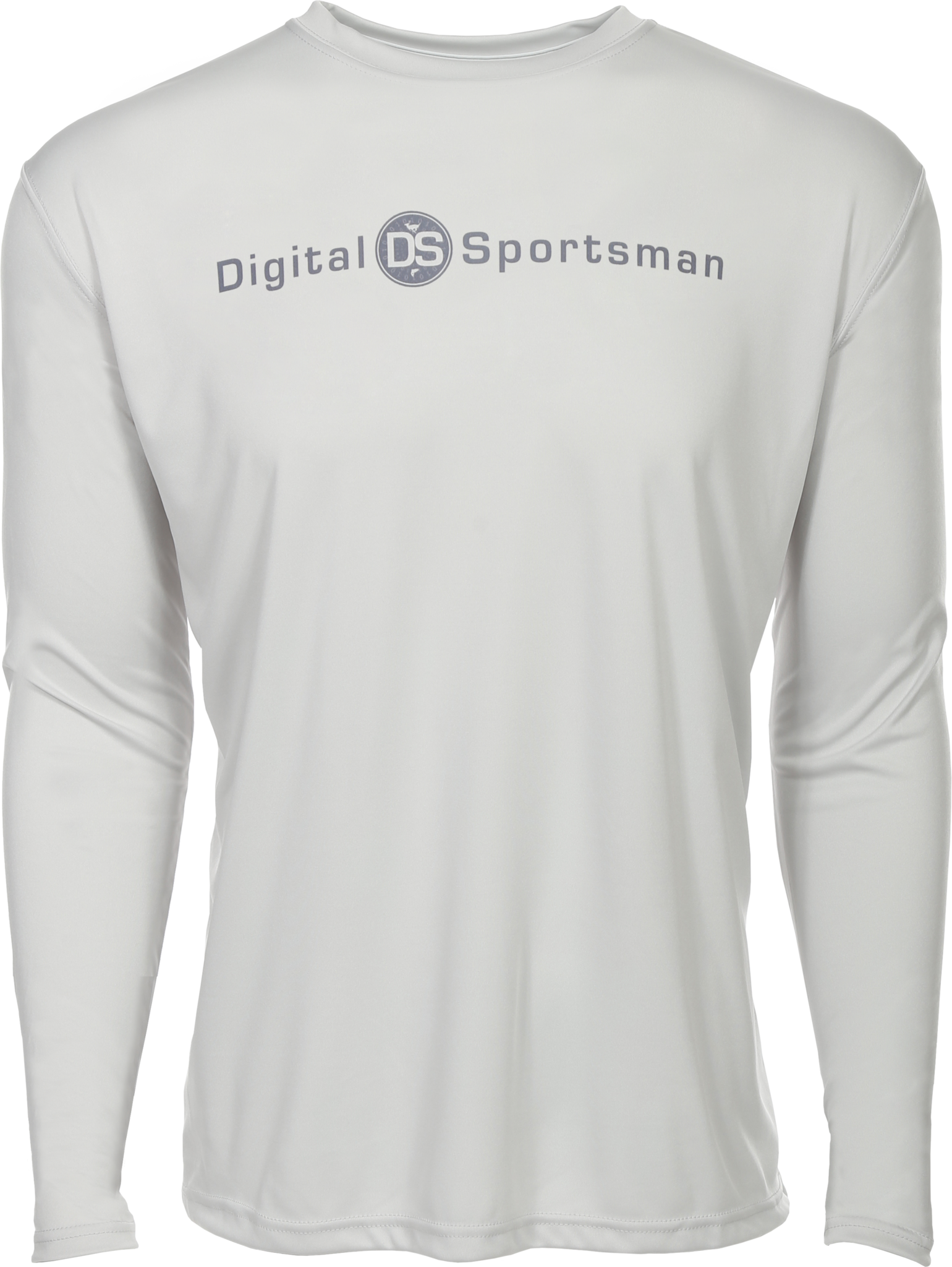 Light grey long sleeve tee shirt with DigitalSportsman logo in darker grey letters